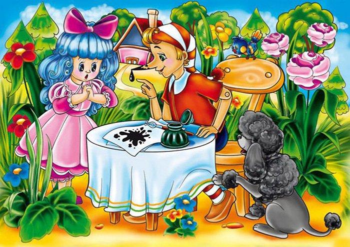 Загадки про казкових героїв: Буратіно