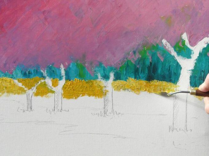 Рисуем весенний пейзаж мастихином, шаг 5
