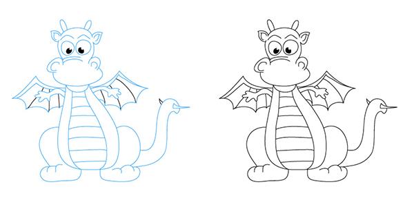 Как рисовать драконов шаг за шагом, схема 5 - этап 6