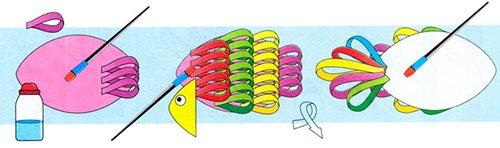 Схема изготовления рыбки из цветной бумаги