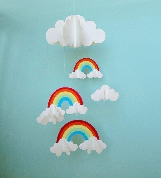 Аплікація хмари та веселка з паперу - завантажити фото