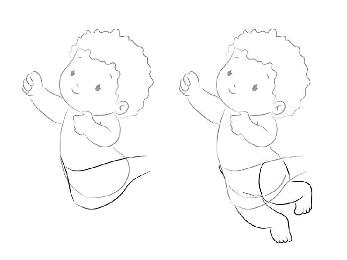 рисуем трогательного Купидона, схема 3