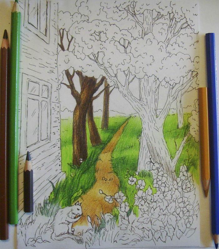 Как нарисовать пейзаж цветными карандашами, шаг 7