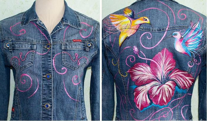разрисовываем джинсовую куртку акриловыми красками