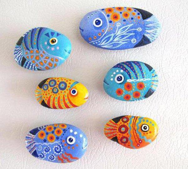 Летние поделки с детьми своими руками - раскрашенные камушки, фото 1