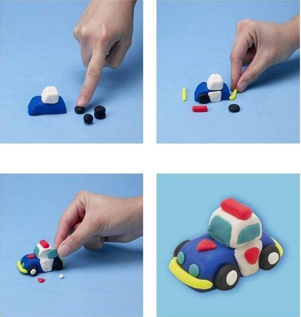 Фігурки з пластиліну - поліцейська машина, фото 1