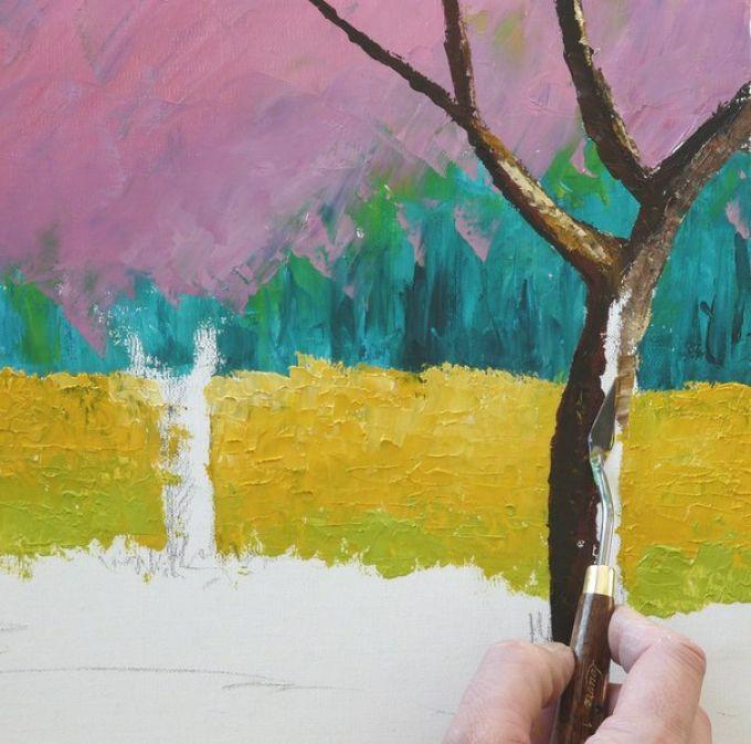 Рисуем весенний пейзаж мастихином, шаг 6