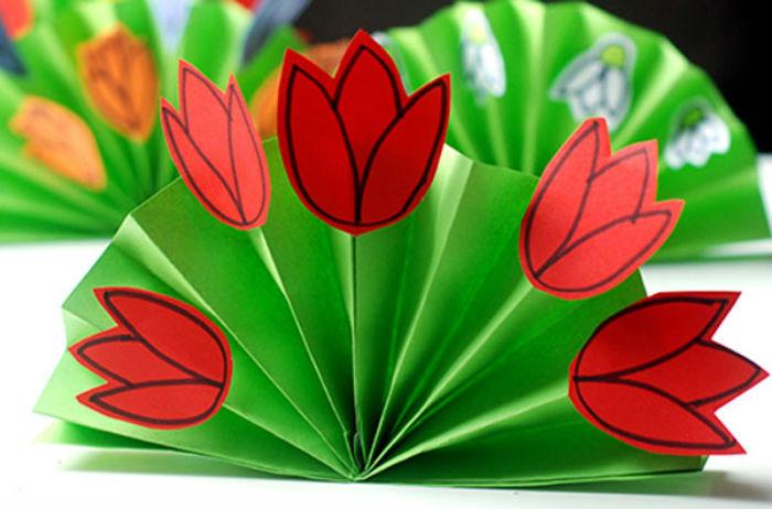Открытка маме, объемные тюльпаны на открытку