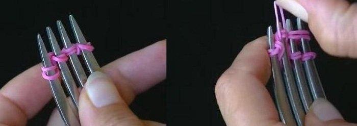 Браслетики з резинок. Плетіння резинками на виделці, фото 2