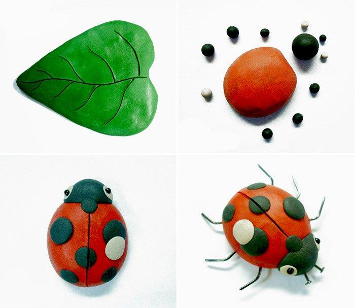 Як ліпити з пластиліну тварин і комах - сонечко, фото 1