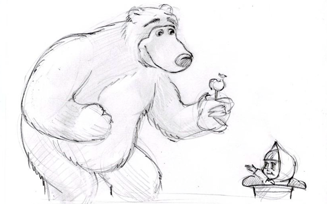 """Малюємо ведмедика з мультфільму """"Маша і Ведмідь"""" крок 5"""