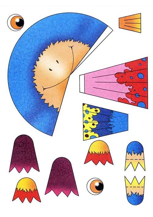 Детские поделки из цветной бумаги с шаблонами. Схема 11 - ворона