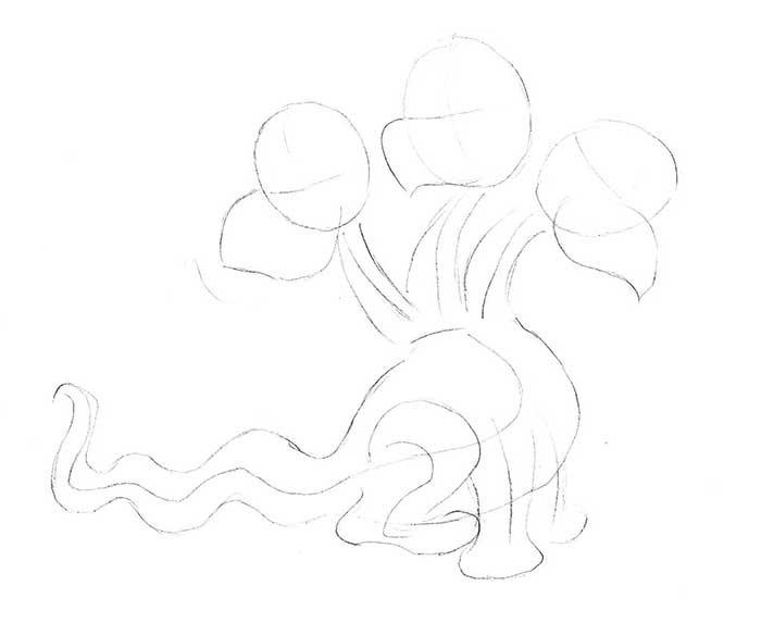 Как рисовать драконов шаг за шагом, схема 1 - этап 2