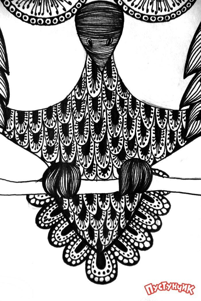 Зентангл животные - сова, фото 10