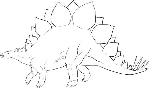 Как нарисовать динозавра Стегозавра, шаг 8