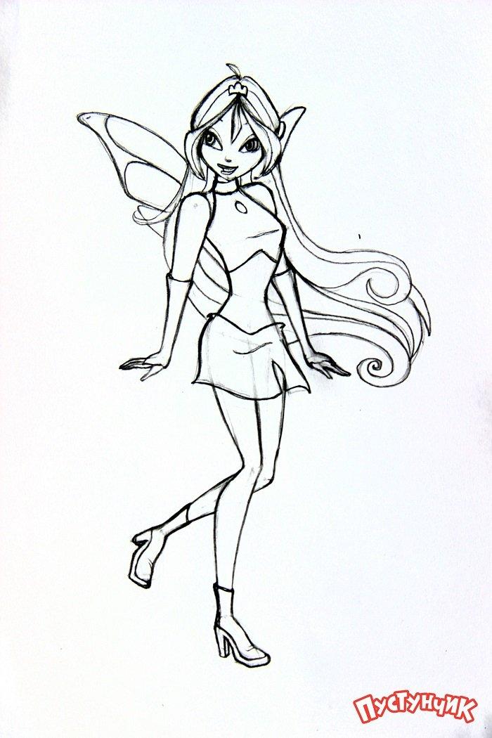 Как рисовать фею Блум из Винкс - фото 12