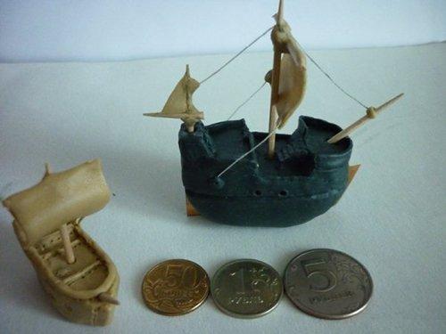 Кораблики из пластилина и зубочисток - мастер-класс, фото 1