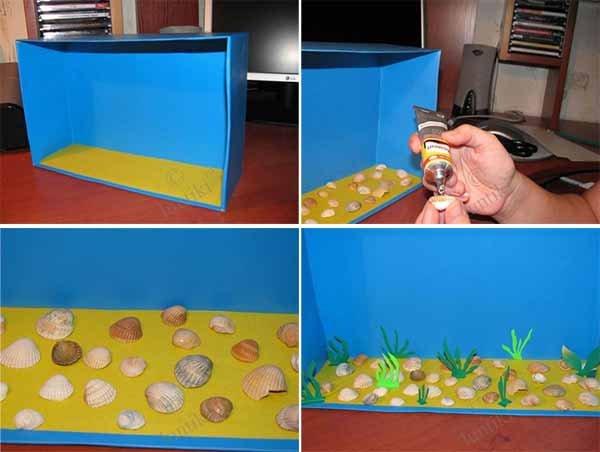 Летние поделки с детьми своими руками - аппликация аквариум, фото 1