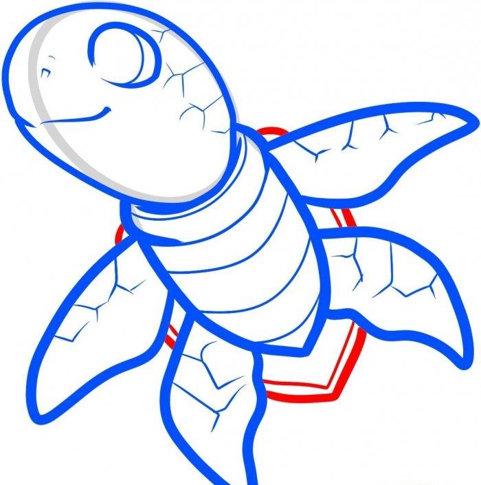 Как нарисовать черепаху карандашом поэтапно, фото 19