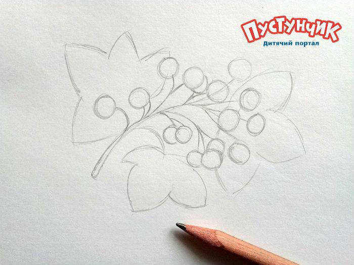 как рисовать листья калины