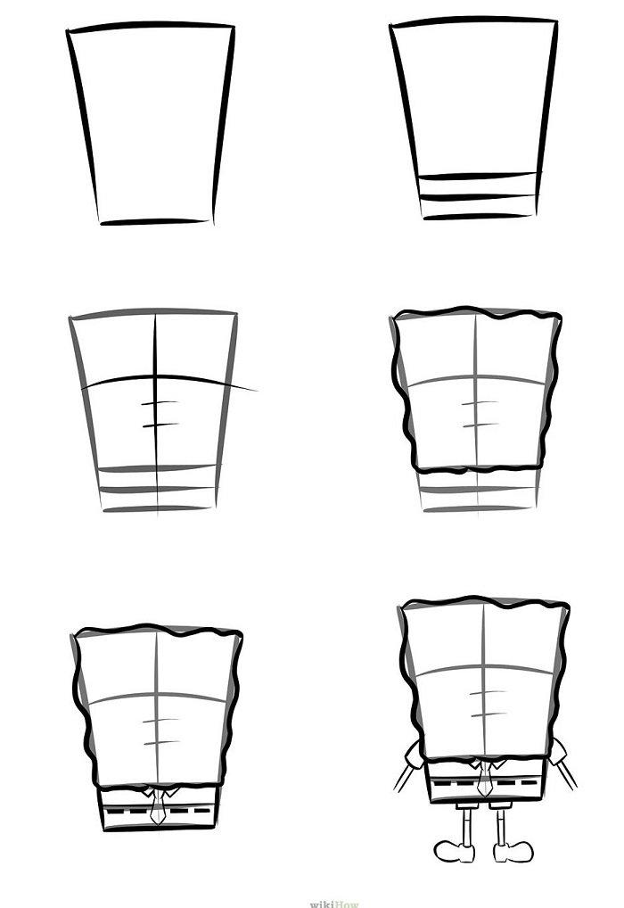Як намалювати Губку Боба поетапно, крок 7