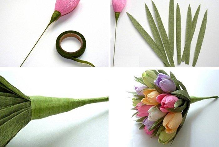 Как сделать тюльпаны из гофрированной бумаги – схема, фото 4