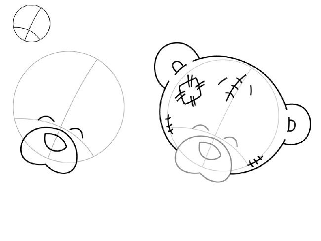 Як намалювати ведмедика Тедді, схема 2, крок 1