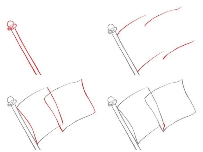 Как нарисовать флаг Украины, пример 2