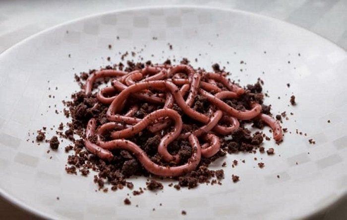 Ужасно вкусные блюда для Хэллоуина, Настоящие черви