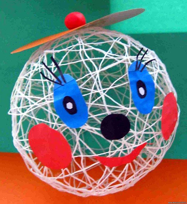 Поделки из ниток своими руками - шар из клея и ниток