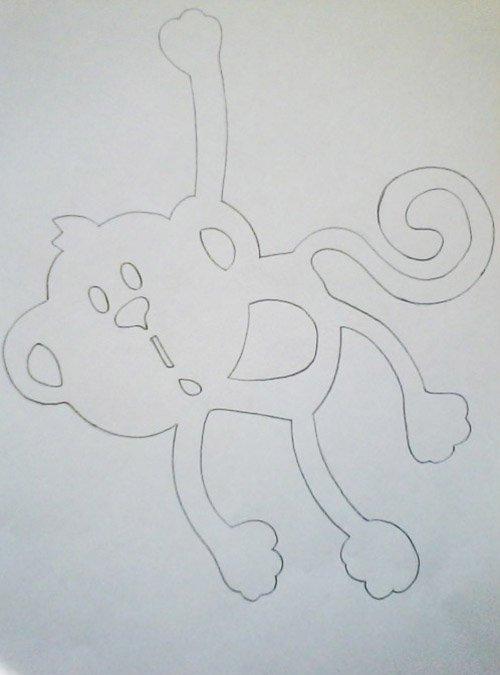 Як зробити витинанку-мавпочку на Новий рік, фото 2