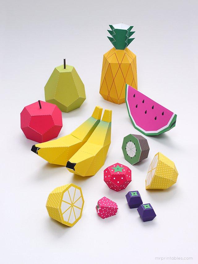 Объемные поделки из бумаги. Шаблоны фруктов для объемной аппликации, фото 12