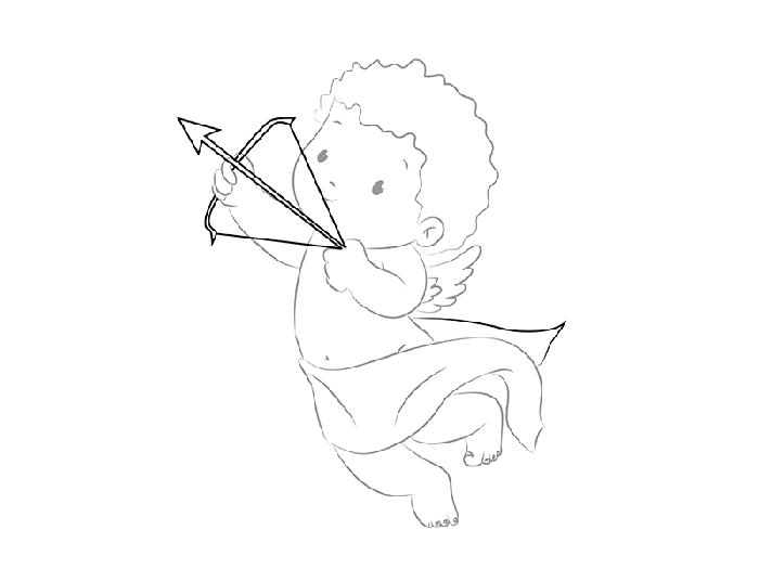 рисуем трогательного Купидона, схема 5