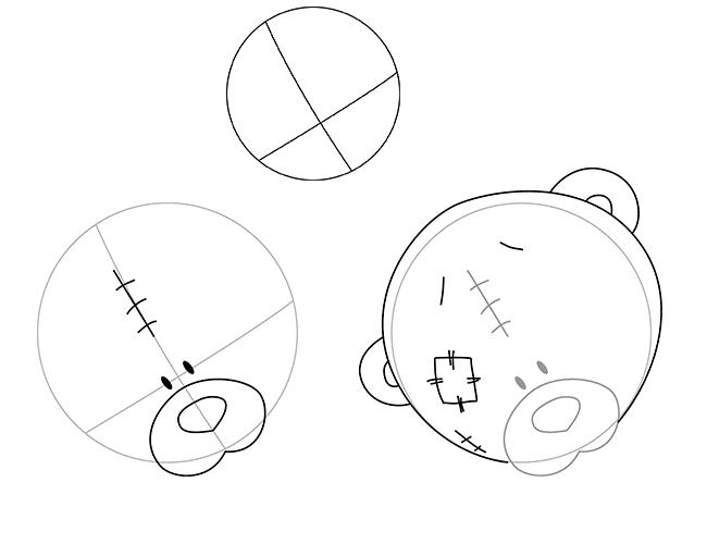 Як намалювати ведмедика Тедді, схема 1, крок 1