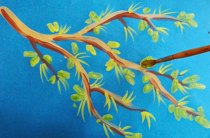 Як намалювати яблуню, або гілку яблуні крок 6