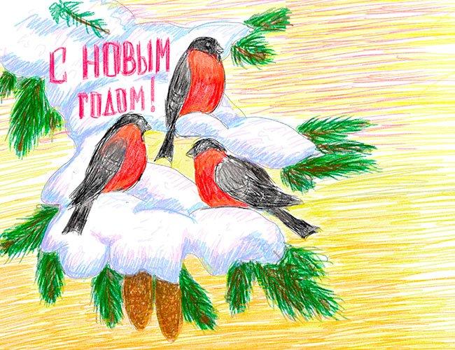 Рисуем снегирей на ветке
