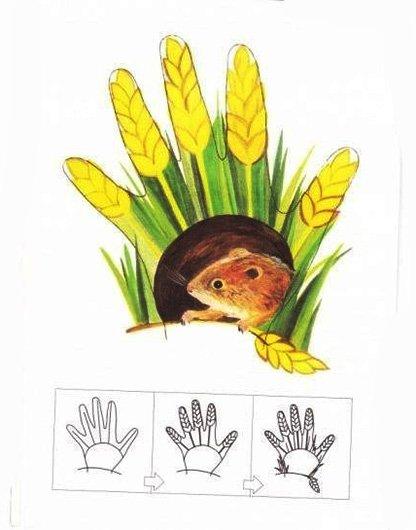 Малювання долонями для дітей. Схема - мишка