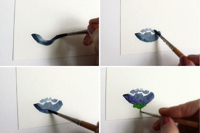 Рисуем фантазийные цветы акварелью, шаг 1