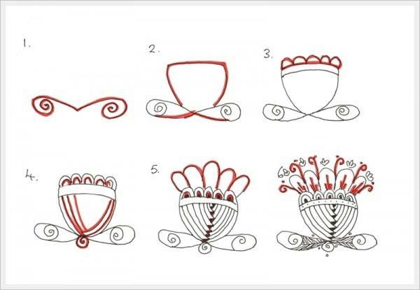 Орнамент цветы шаг 4