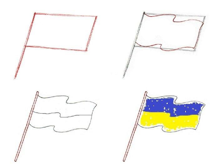 Как нарисовать флаг Украины, пример 1