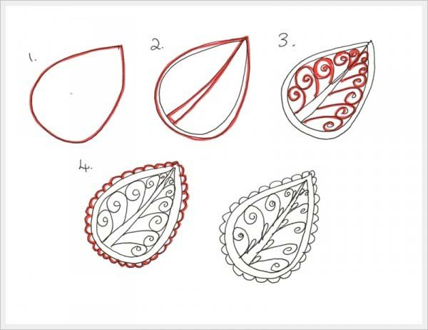 Малюємо орнамент листя крок 1