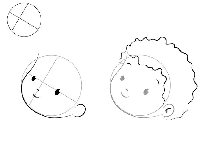 рисуем трогательного Купидона, схема 1