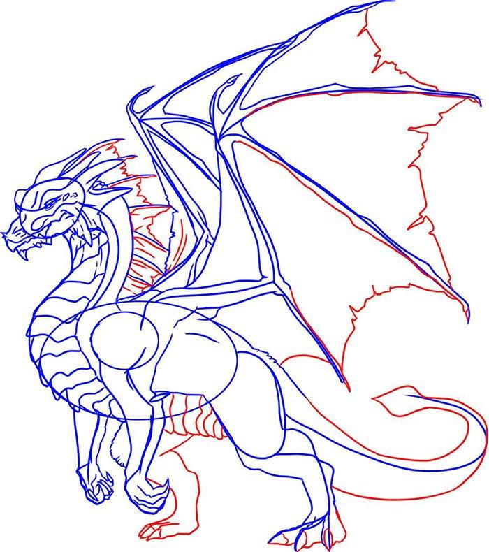 Как рисовать драконов шаг за шагом, схема 6 - этап 6
