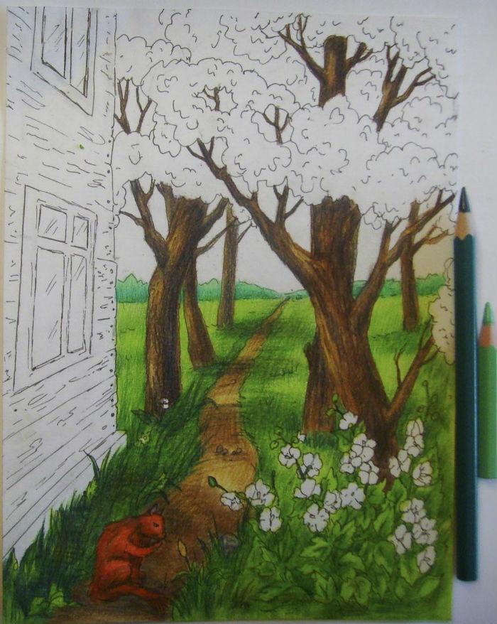 Как нарисовать пейзаж цветными карандашами, шаг 9