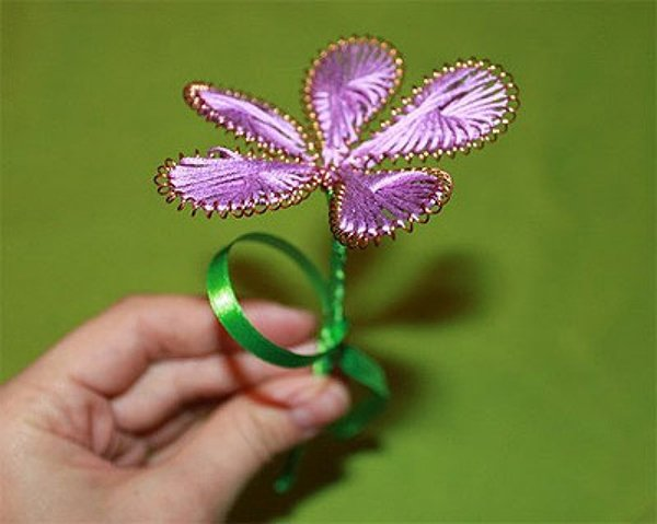 Квіти з ниток і дроту. Майстер-клас, фото 6