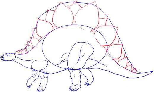 Как нарисовать динозавра Стегозавра, шаг 6