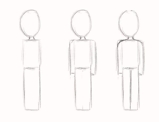 Как нарисовать мальчика, этап 2