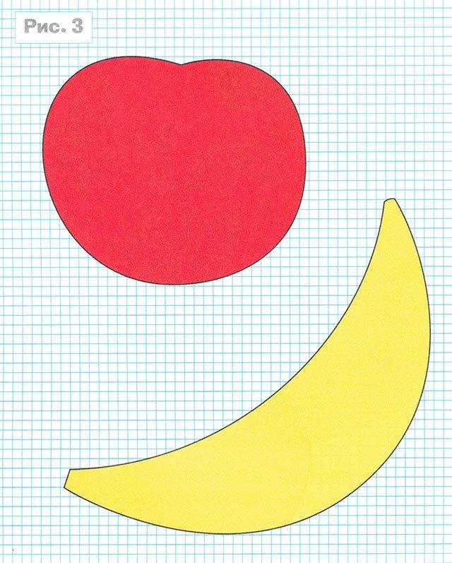 Шаблон яблока и банана для аппликации из цветного картона
