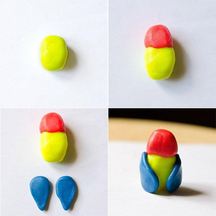 Лепка птиц из пластилина - попугай, фото 2