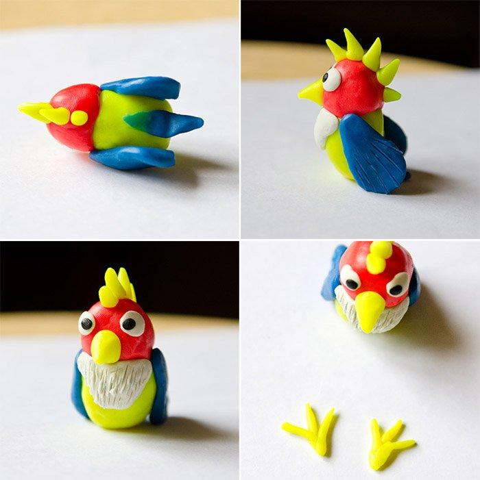 Лепка птиц из пластилина - попугай, фото 4